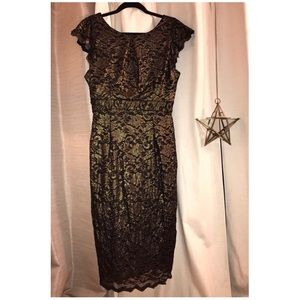 Allen B Black and Gold Cocktail Dress, Size M